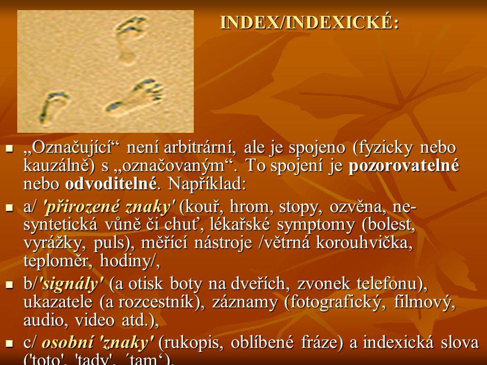 INDEX/INDEXICKÉ:
