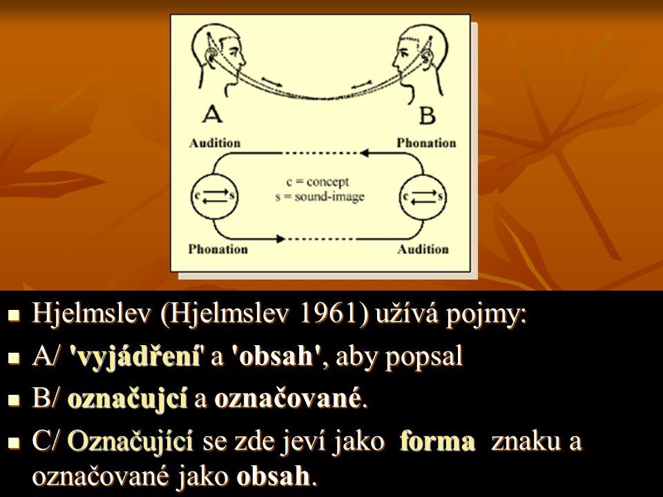 Hjelmslev (Hjelmslev 1961) užívá pojmy: