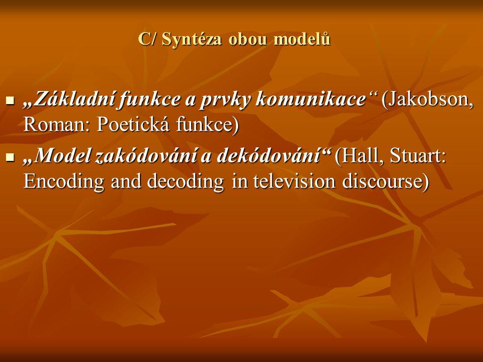 """C/ Syntéza obou modelů """"Základní funkce a prvky komunikace (Jakobson, Roman: Poetická funkce)"""