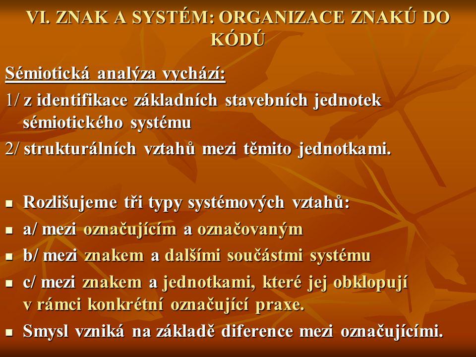 VI. ZNAK A SYSTÉM: ORGANIZACE ZNAKÚ DO KÓDÚ