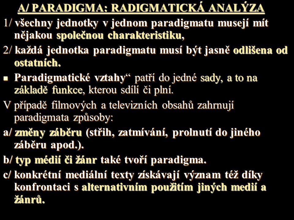 A/ PARADIGMA: RADIGMATICKÁ ANALÝZA