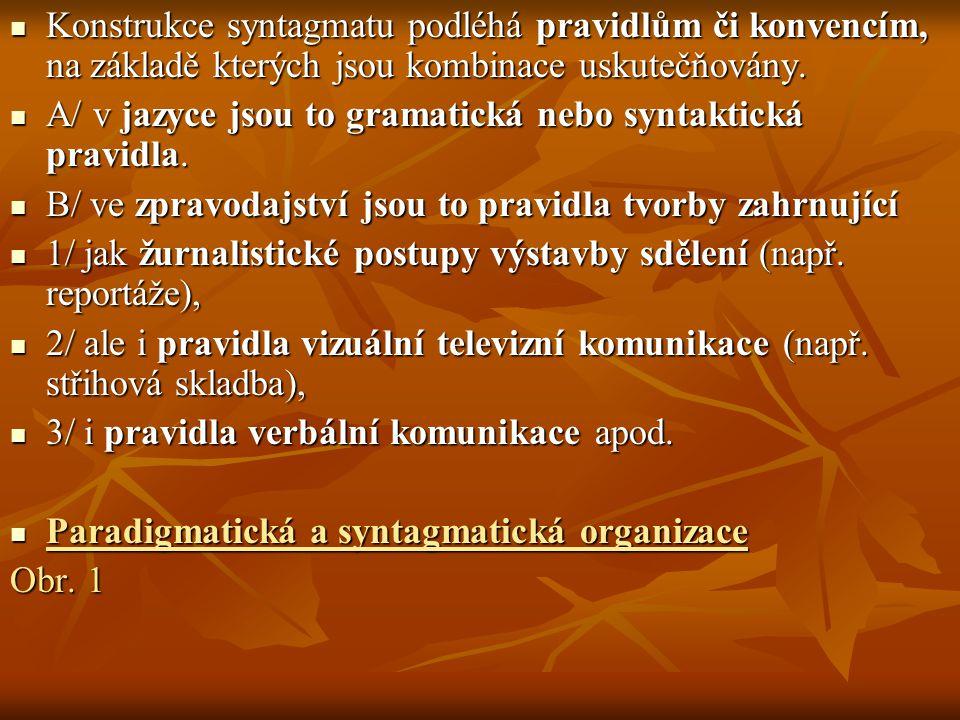 Konstrukce syntagmatu podléhá pravidlům či konvencím, na základě kterých jsou kombinace uskutečňovány.