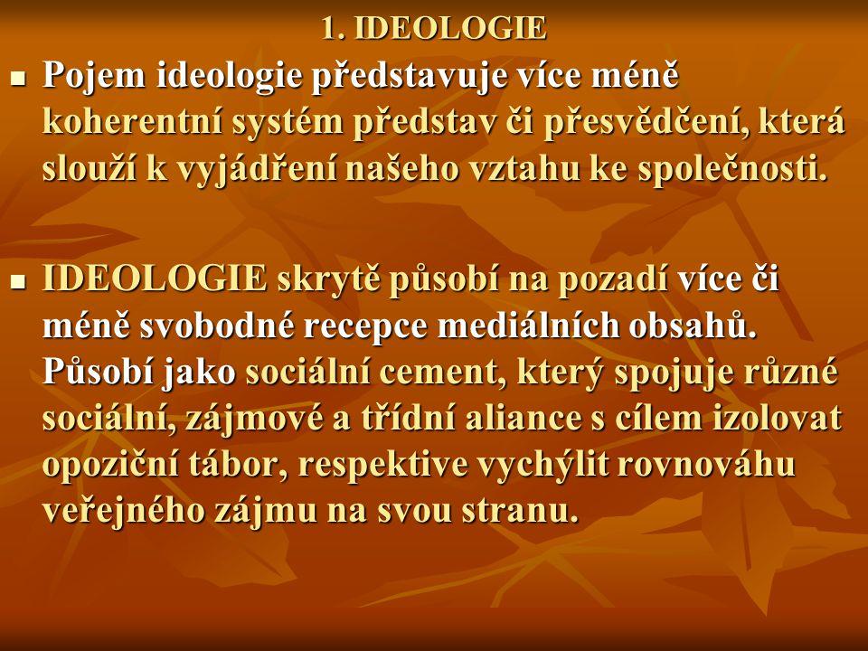 1. IDEOLOGIE Pojem ideologie představuje více méně koherentní systém představ či přesvědčení, která slouží k vyjádření našeho vztahu ke společnosti.