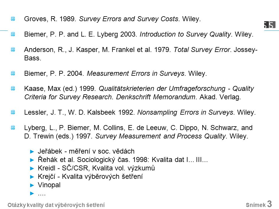 Groves, R Survey Errors and Survey Costs. Wiley.