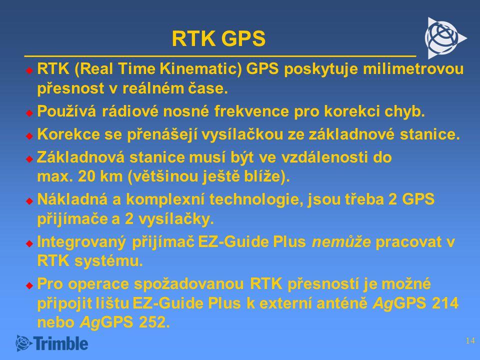 RTK GPS RTK (Real Time Kinematic) GPS poskytuje milimetrovou přesnost v reálném čase. Používá rádiové nosné frekvence pro korekci chyb.