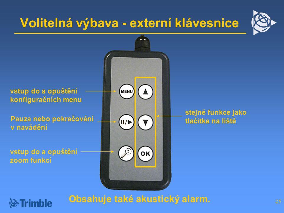 Volitelná výbava - externí klávesnice