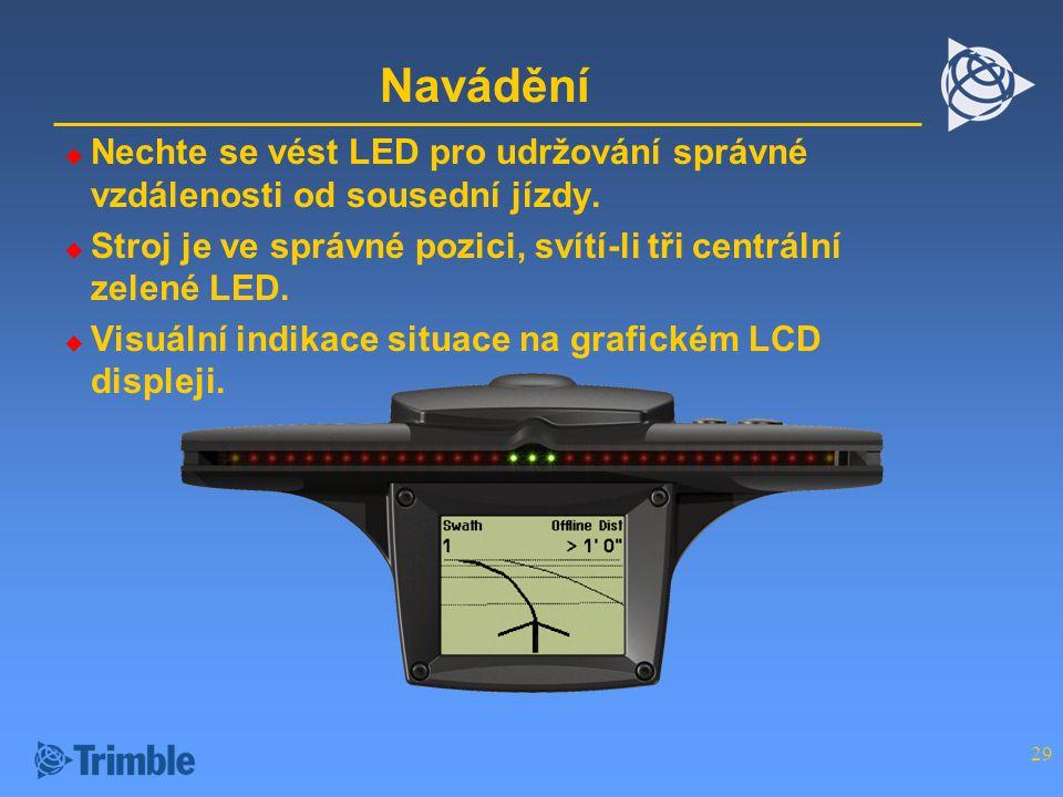 Navádění Nechte se vést LED pro udržování správné vzdálenosti od sousední jízdy. Stroj je ve správné pozici, svítí-li tři centrální zelené LED.