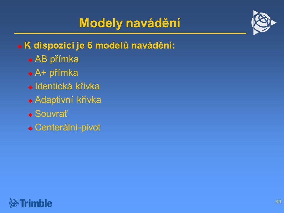 Modely navádění K dispozici je 6 modelů navádění: AB přímka A+ přímka