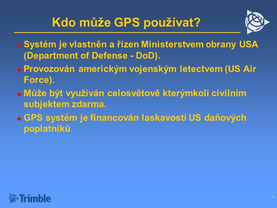 Kdo může GPS používat Systém je vlastněn a řízen Ministerstvem obrany USA (Department of Defense - DoD).