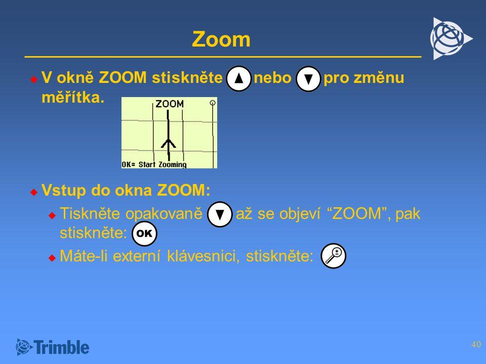 Zoom V okně ZOOM stiskněte nebo pro změnu měřítka. Vstup do okna ZOOM: