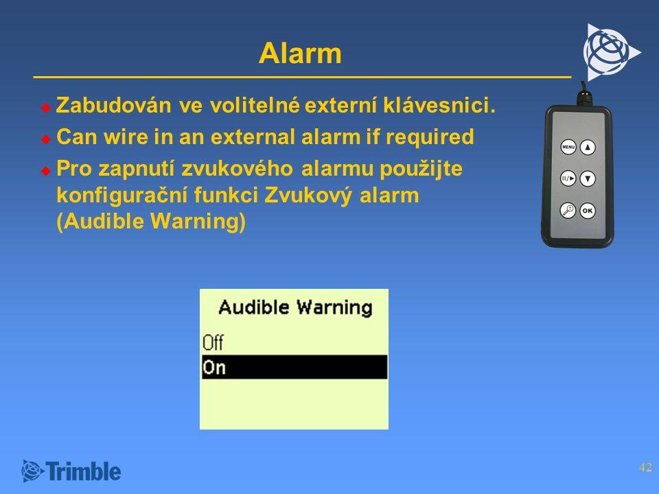 Alarm Zabudován ve volitelné externí klávesnici.