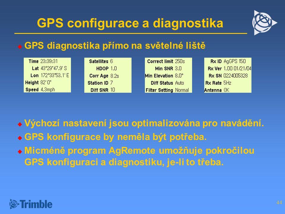 GPS configurace a diagnostika