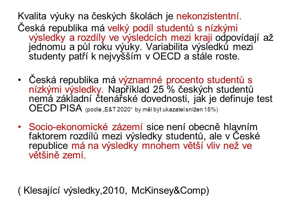 Kvalita výuky na českých školách je nekonzistentní.