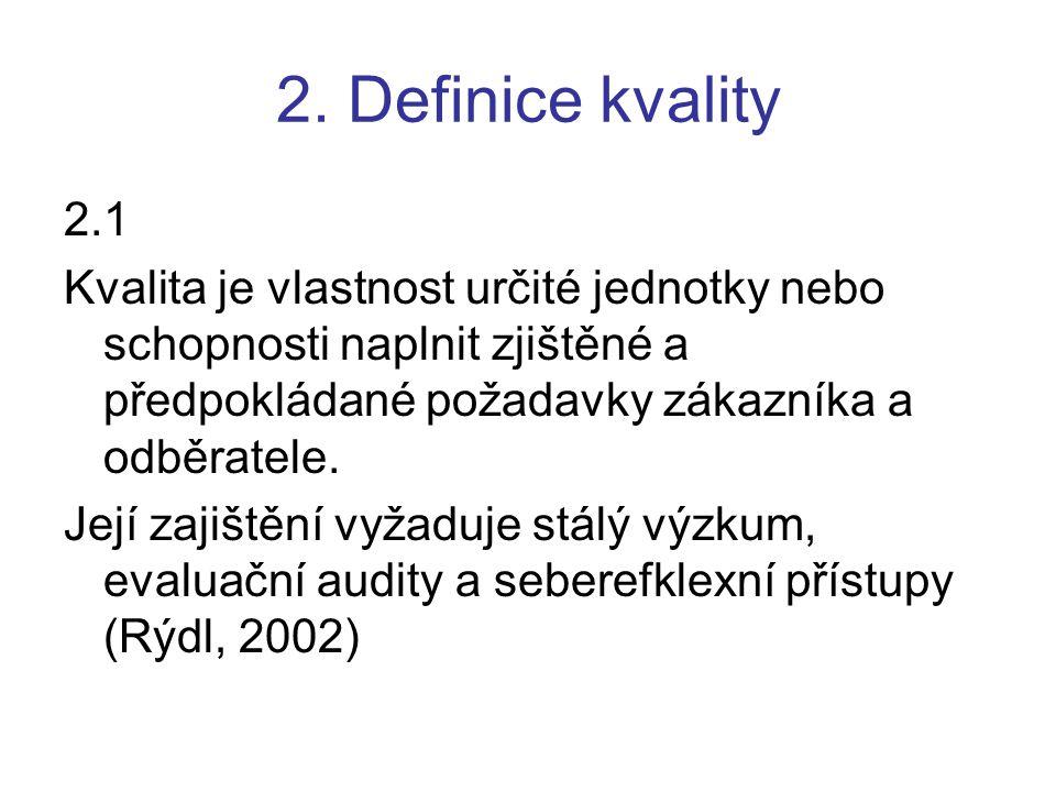 2. Definice kvality 2.1. Kvalita je vlastnost určité jednotky nebo schopnosti naplnit zjištěné a předpokládané požadavky zákazníka a odběratele.
