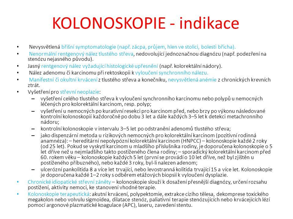 KOLONOSKOPIE - indikace