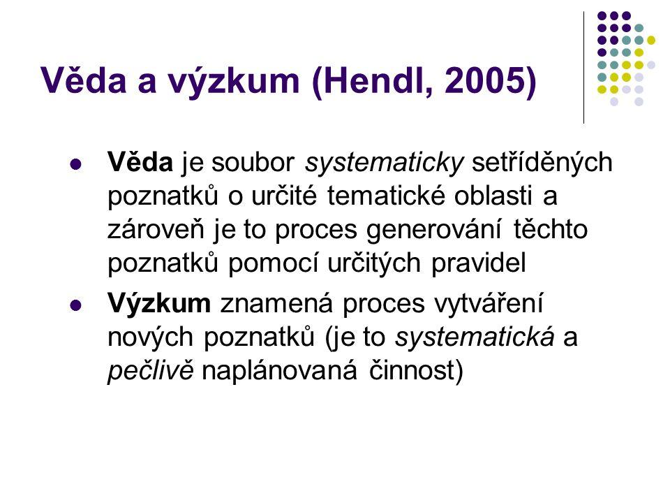 Věda a výzkum (Hendl, 2005)
