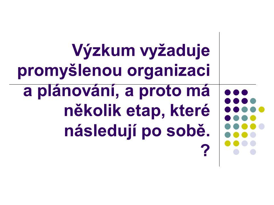 Výzkum vyžaduje promyšlenou organizaci a plánování, a proto má několik etap, které následují po sobě.