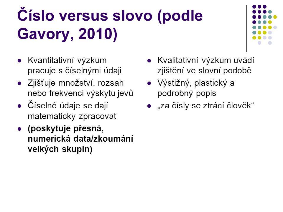 Číslo versus slovo (podle Gavory, 2010)