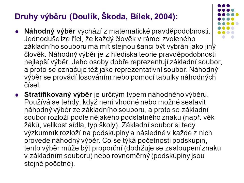 Druhy výběru (Doulík, Škoda, Bílek, 2004):