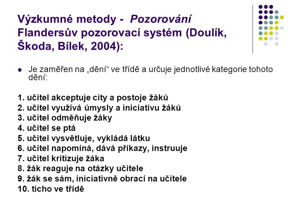 Výzkumné metody - Pozorování Flandersův pozorovací systém (Doulík, Škoda, Bílek, 2004):