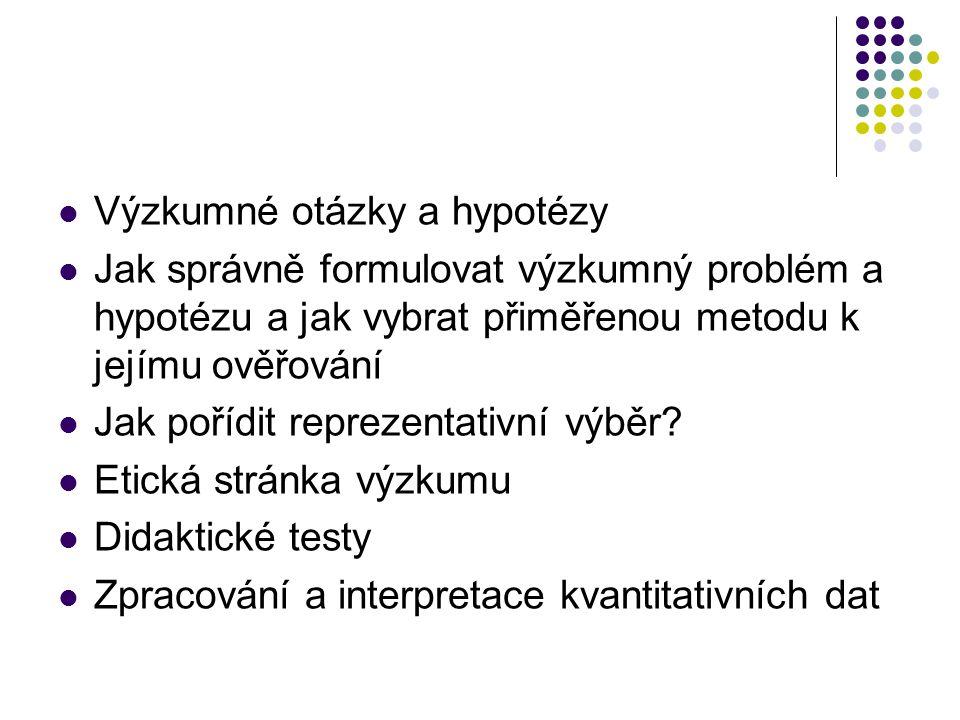 Výzkumné otázky a hypotézy