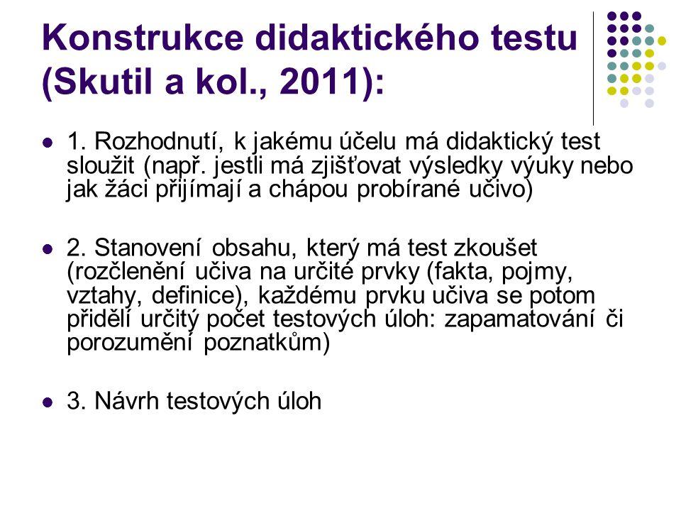 Konstrukce didaktického testu (Skutil a kol., 2011):