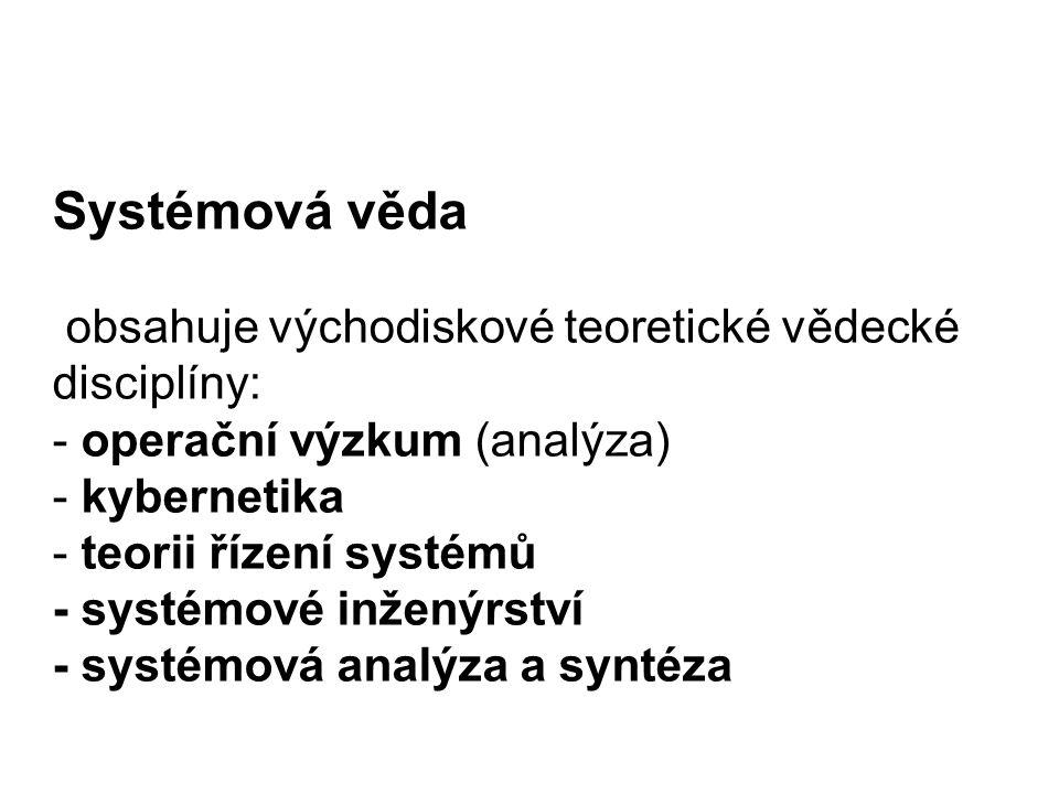 Systémová věda obsahuje východiskové teoretické vědecké disciplíny: - operační výzkum (analýza) - kybernetika - teorii řízení systémů - systémové inženýrství - systémová analýza a syntéza