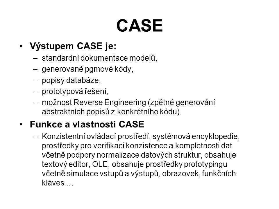 CASE Výstupem CASE je: Funkce a vlastnosti CASE