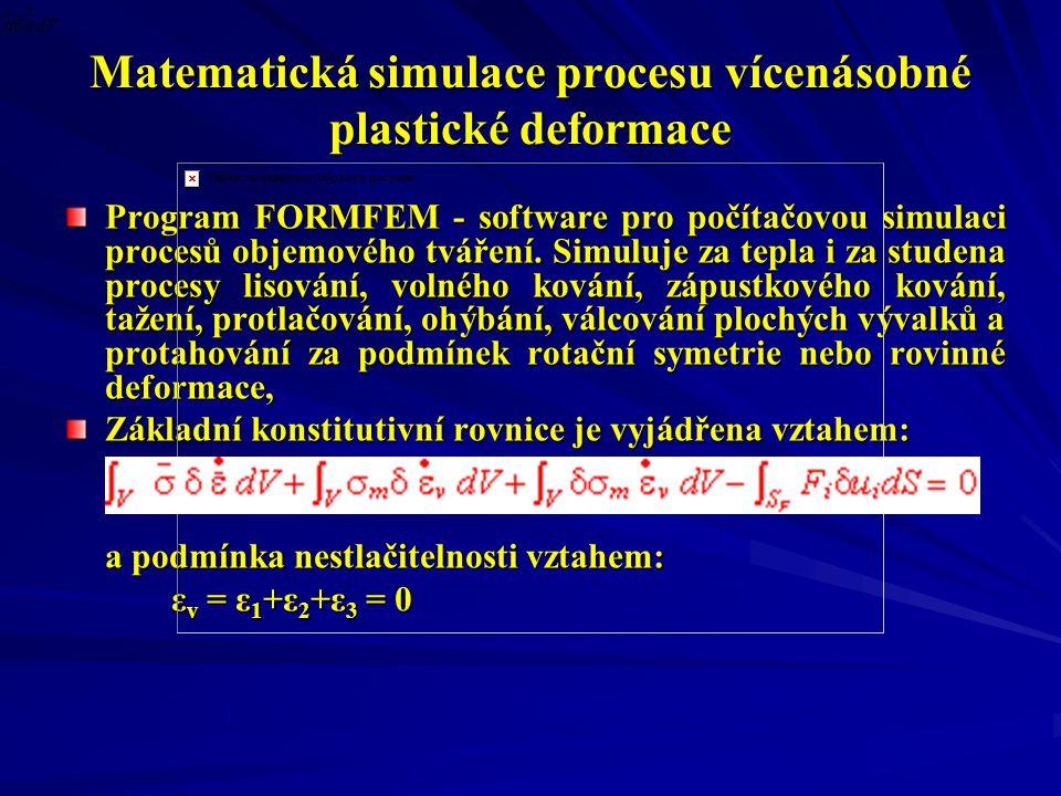 Matematická simulace procesu vícenásobné plastické deformace