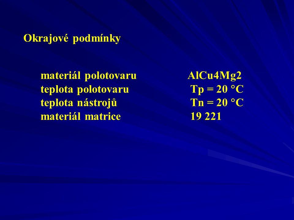 teplota polotovaru Tp = 20 C teplota nástrojů Tn = 20 C
