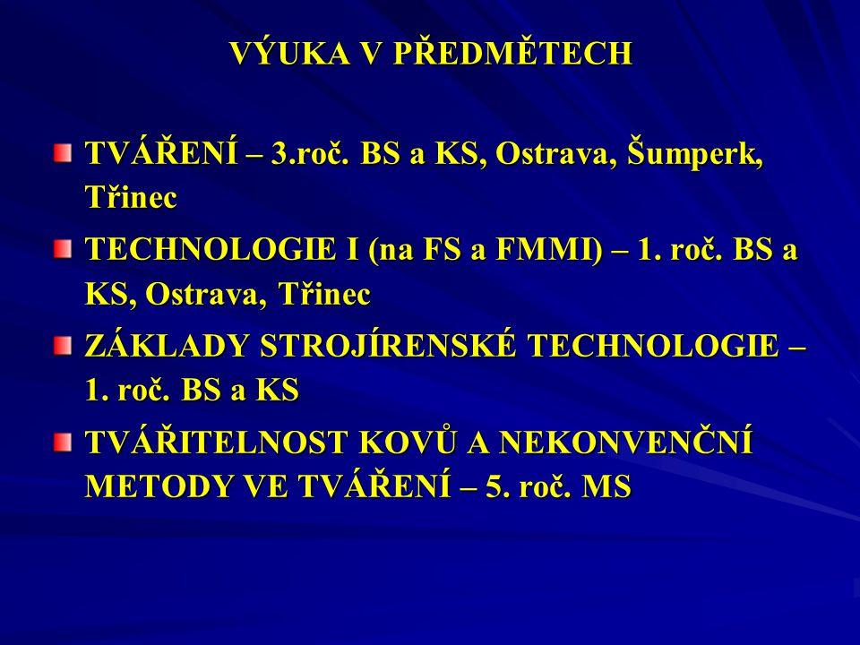 VÝUKA V PŘEDMĚTECH TVÁŘENÍ – 3.roč. BS a KS, Ostrava, Šumperk, Třinec. TECHNOLOGIE I (na FS a FMMI) – 1. roč. BS a KS, Ostrava, Třinec.
