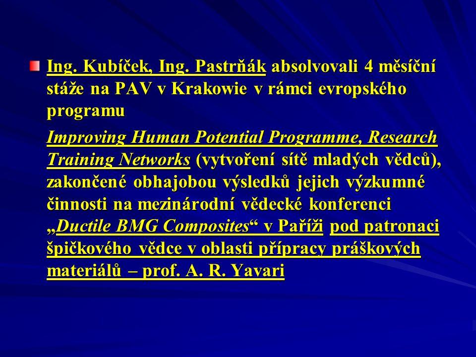 Ing. Kubíček, Ing. Pastrňák absolvovali 4 měsíční stáže na PAV v Krakowie v rámci evropského programu