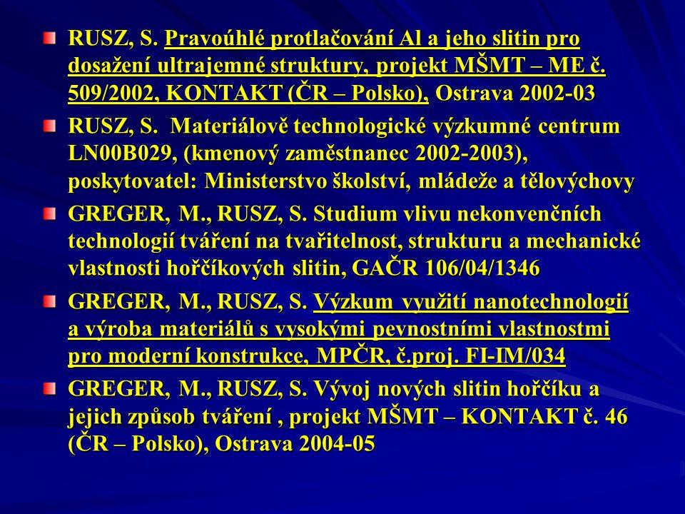 RUSZ, S. Pravoúhlé protlačování Al a jeho slitin pro dosažení ultrajemné struktury, projekt MŠMT – ME č. 509/2002, KONTAKT (ČR – Polsko), Ostrava 2002-03