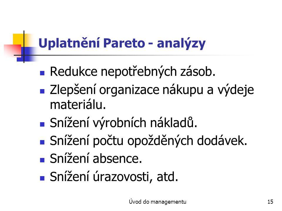 Uplatnění Pareto - analýzy