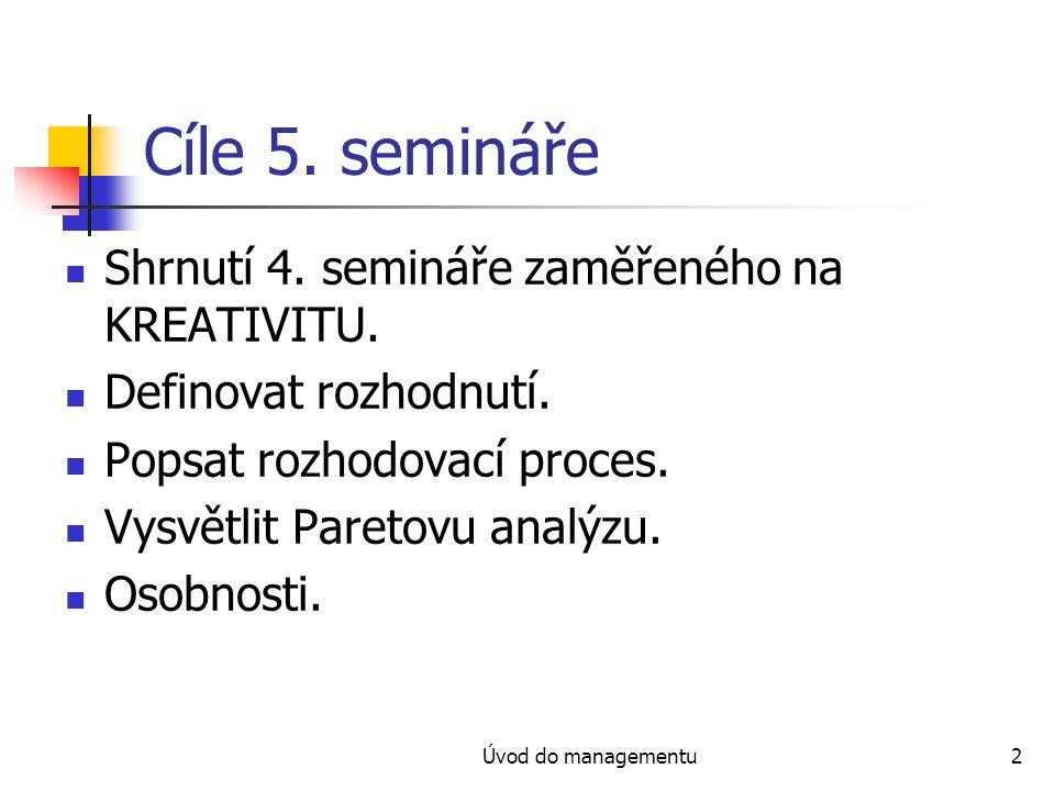 Cíle 5. semináře Shrnutí 4. semináře zaměřeného na KREATIVITU.