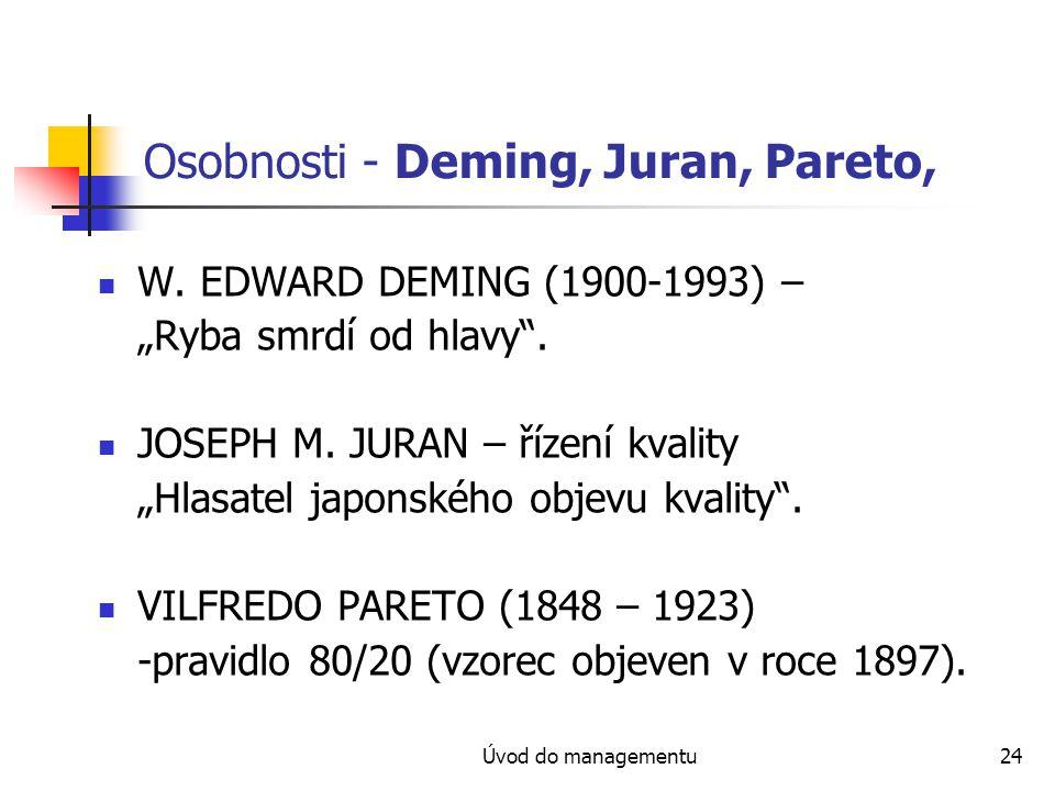 Osobnosti - Deming, Juran, Pareto,