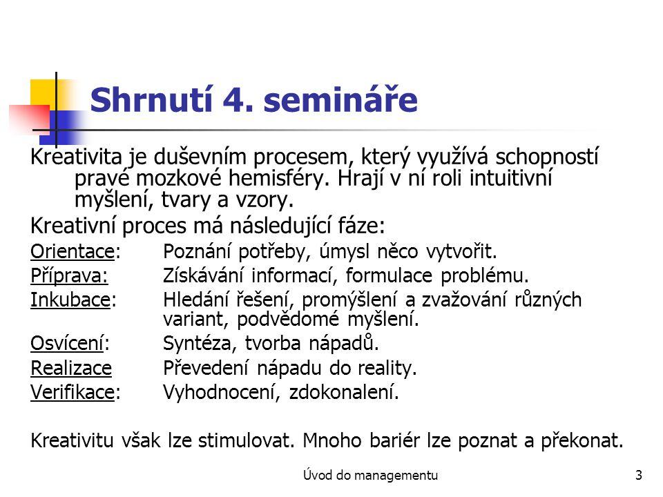 Shrnutí 4. semináře