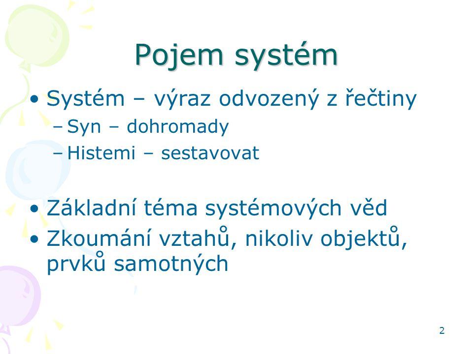 Pojem systém Systém – výraz odvozený z řečtiny