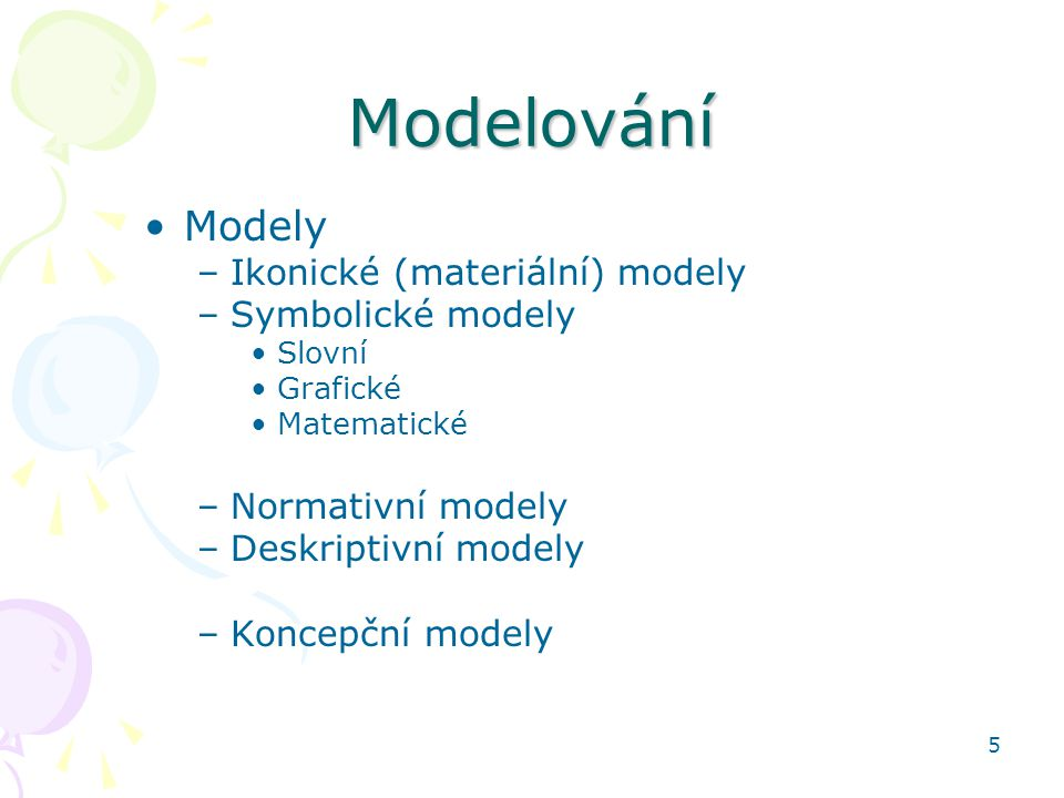 Modelování Modely Ikonické (materiální) modely Symbolické modely