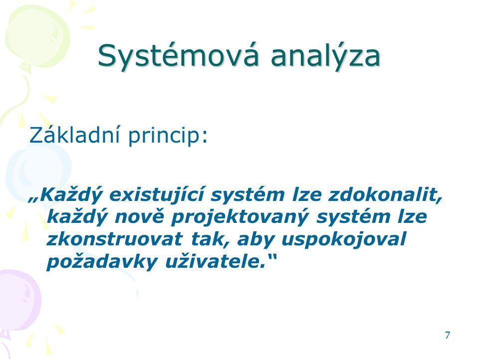 Systémová analýza Základní princip: