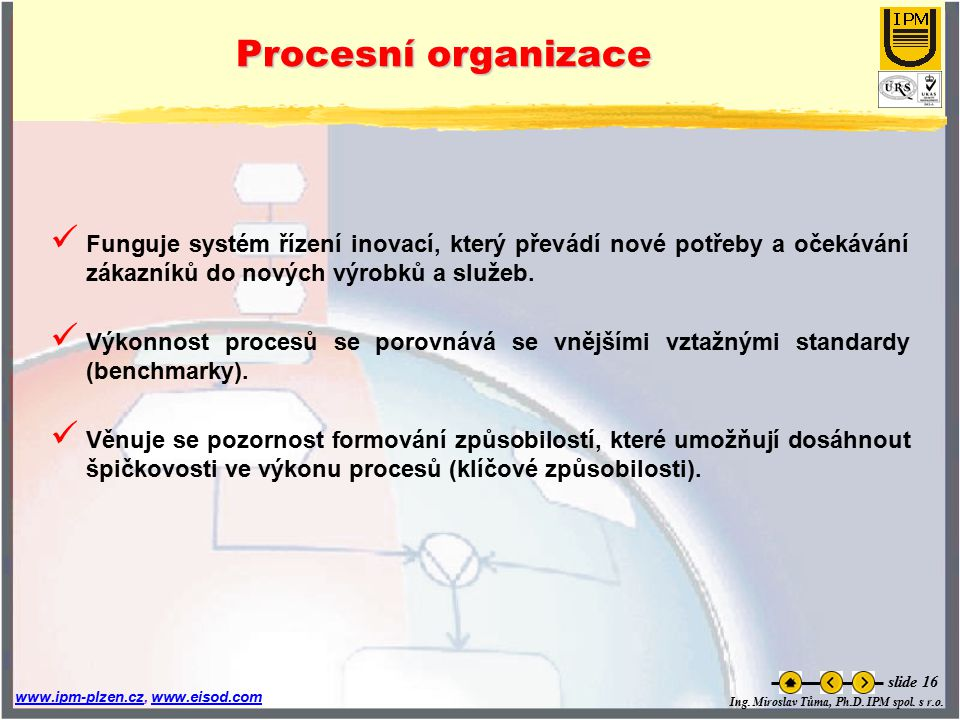 Procesní organizace Funguje systém řízení inovací, který převádí nové potřeby a očekávání zákazníků do nových výrobků a služeb.