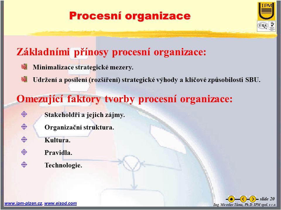 Základními přínosy procesní organizace: