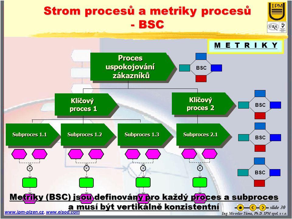 Strom procesů a metriky procesů - BSC