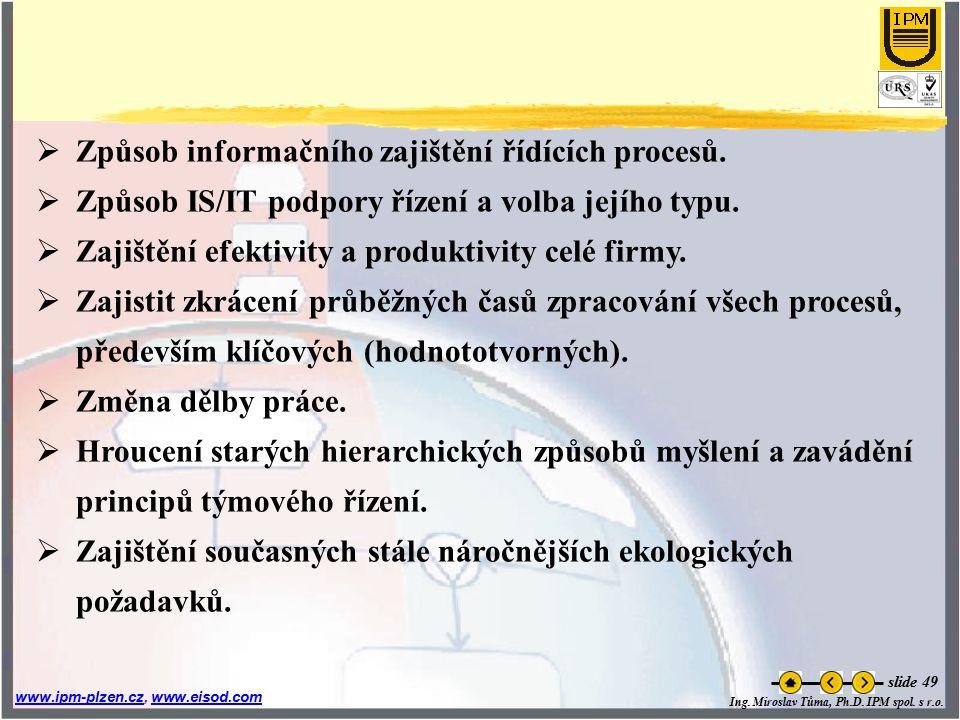 Způsob informačního zajištění řídících procesů.