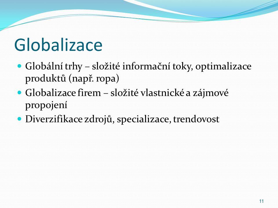 Globalizace Globální trhy – složité informační toky, optimalizace produktů (např. ropa) Globalizace firem – složité vlastnické a zájmové propojení.