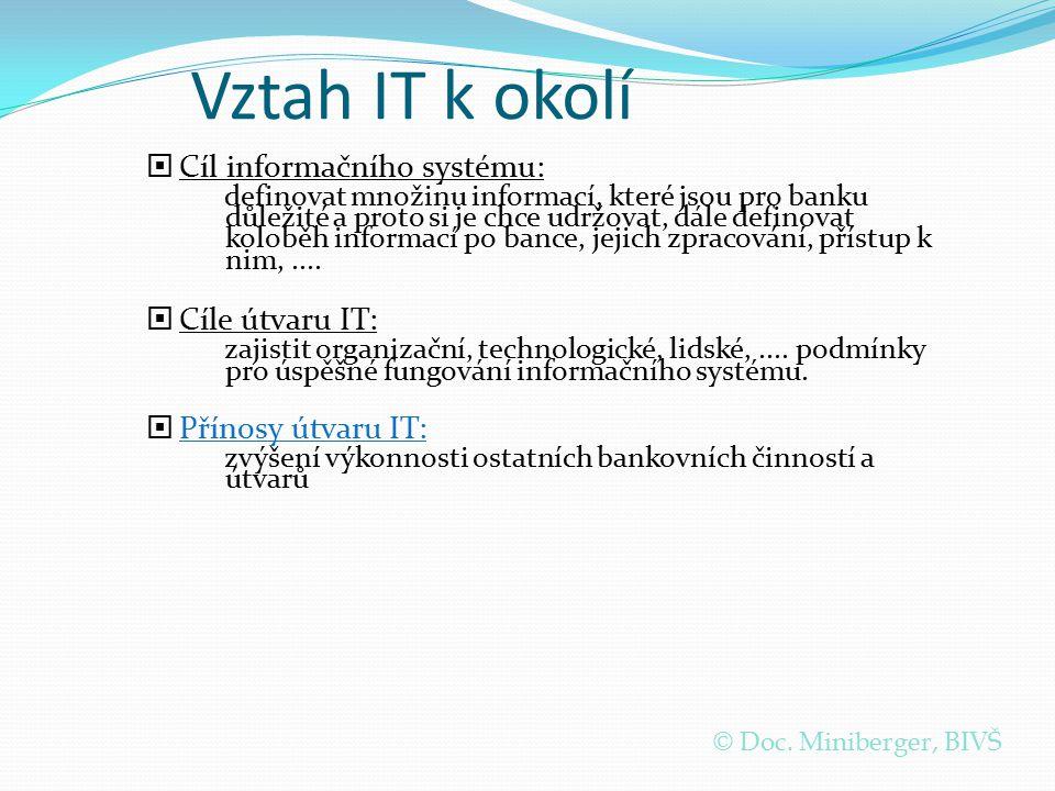 Vztah IT k okolí Cíl informačního systému: Cíle útvaru IT: