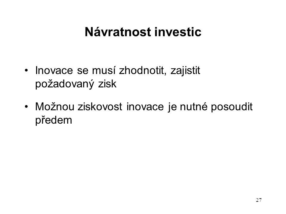 Návratnost investic Inovace se musí zhodnotit, zajistit požadovaný zisk.
