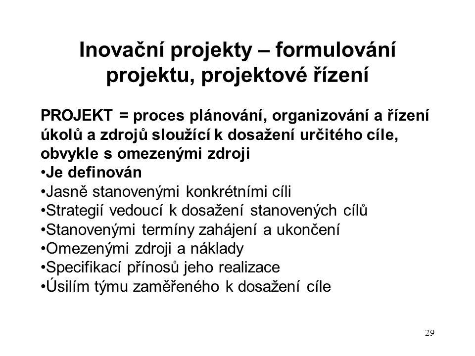 Inovační projekty – formulování projektu, projektové řízení