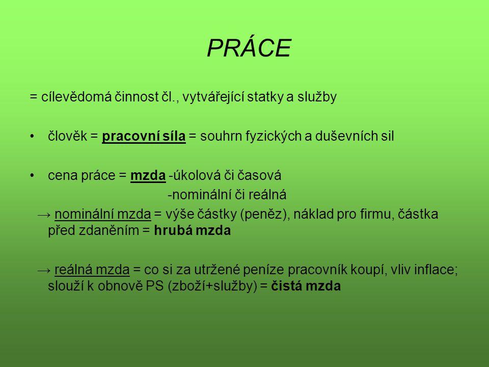 PRÁCE = cílevědomá činnost čl., vytvářející statky a služby