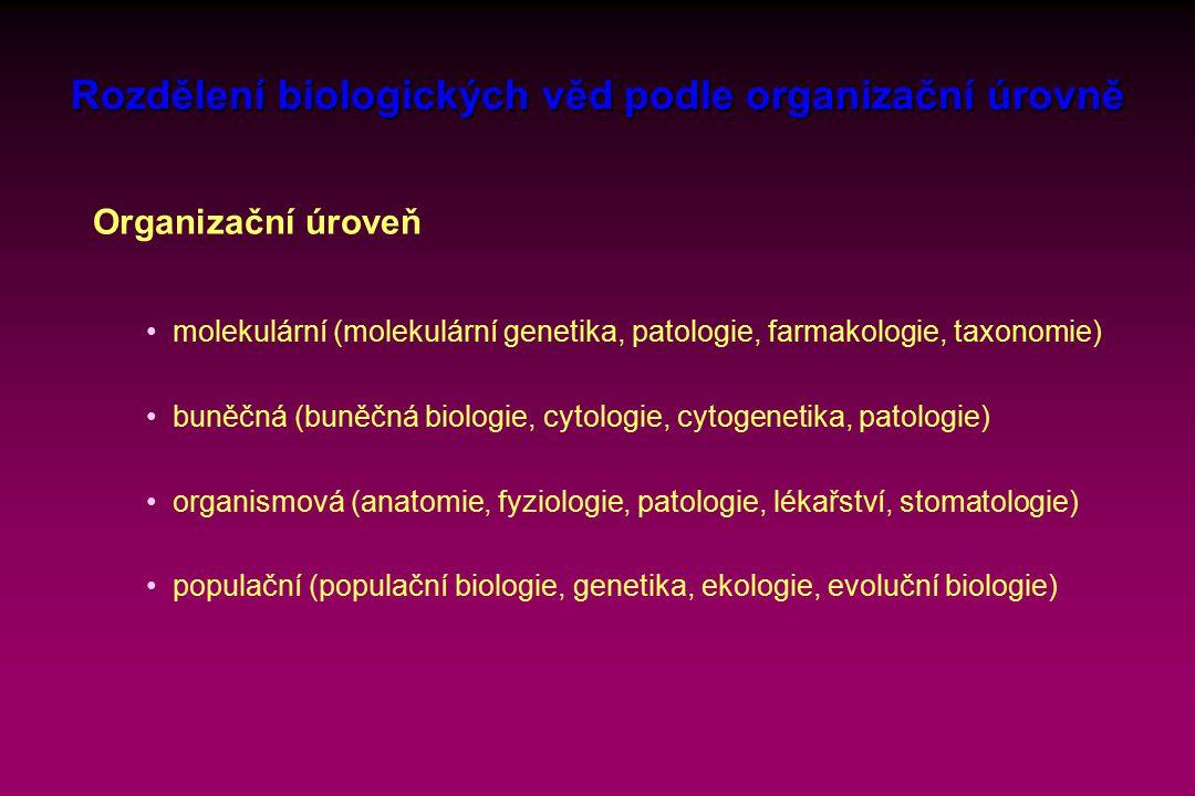 Rozdělení biologických věd podle organizační úrovně